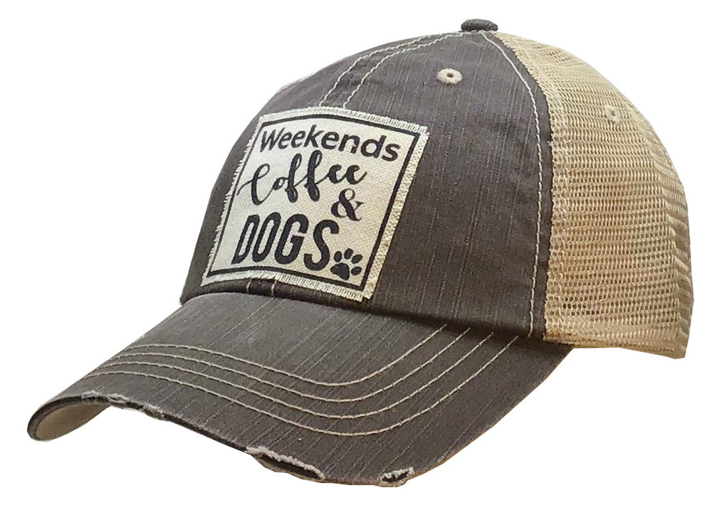"""Weekend Coffee & Dogs"" Distressed Trucker Cap"
