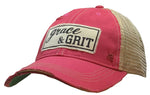 """Grace & Grit"" Distressed Trucker Cap"