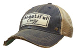 """Beautiful Crazy"" Distressed Trucker Cap"
