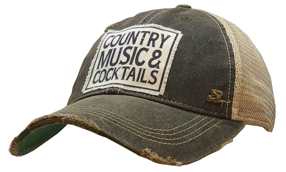 """Country Music & Cocktails"" Distressed Trucker Cap"