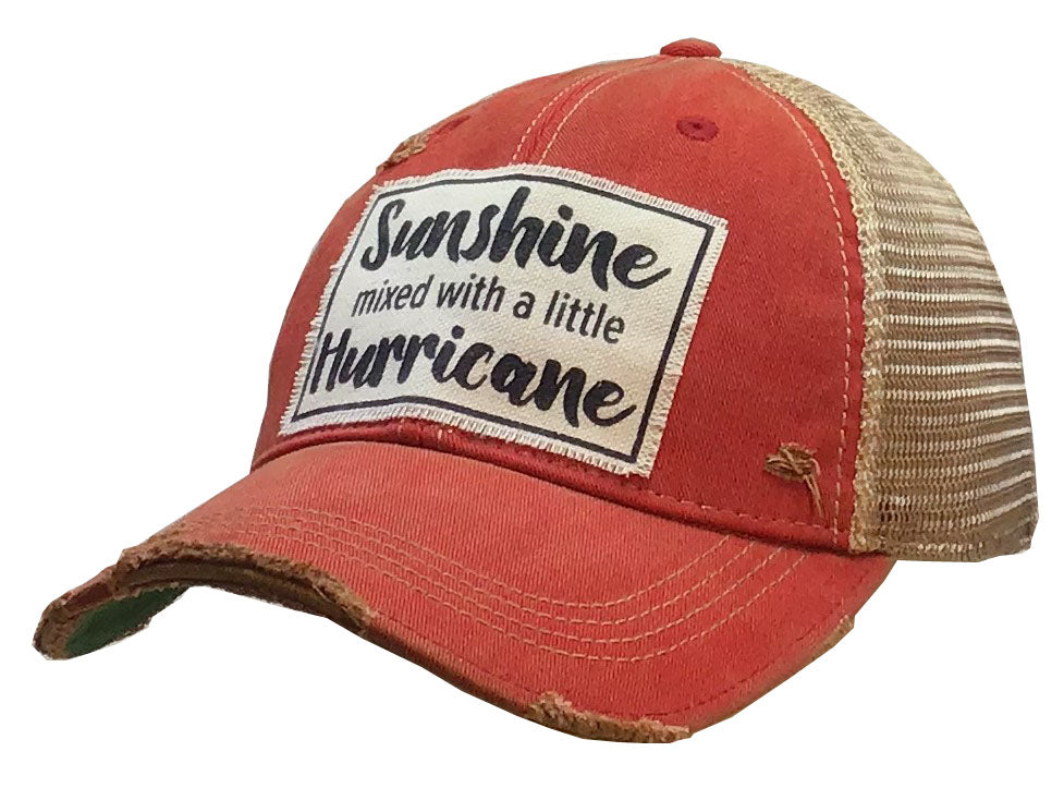 """Sunshine With A Little Hurricane"" Distressed Trucker Cap"