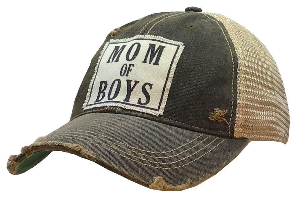 """Mom Of Boys"" Distressed Trucker Cap"