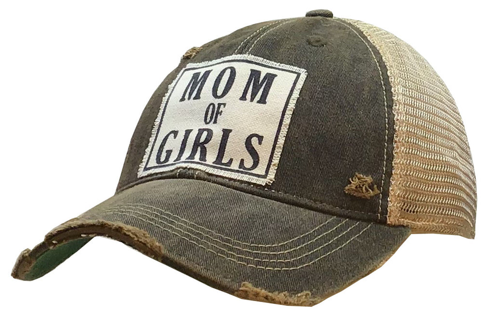 """Mom Of Girls"" Distressed Trucker Cap"