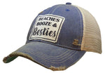 """Beaches Booze & Besties"" Distressed Trucker Cap"