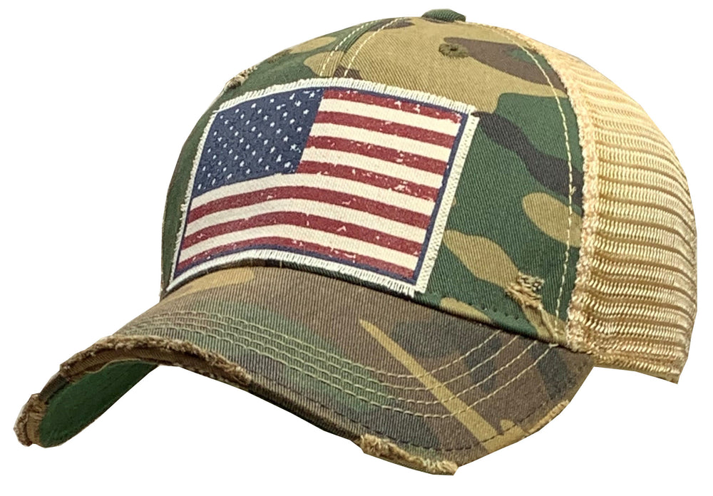 """American Flag USA"" Vintage Distressed Trucker Cap"