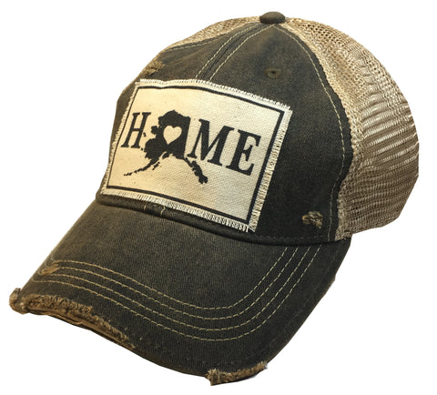 """Alaska HOME""  Women's Distressed Trucker Cap"