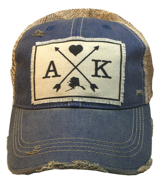 """Alaska Arrows""  Women's Distressed Trucker Cap"