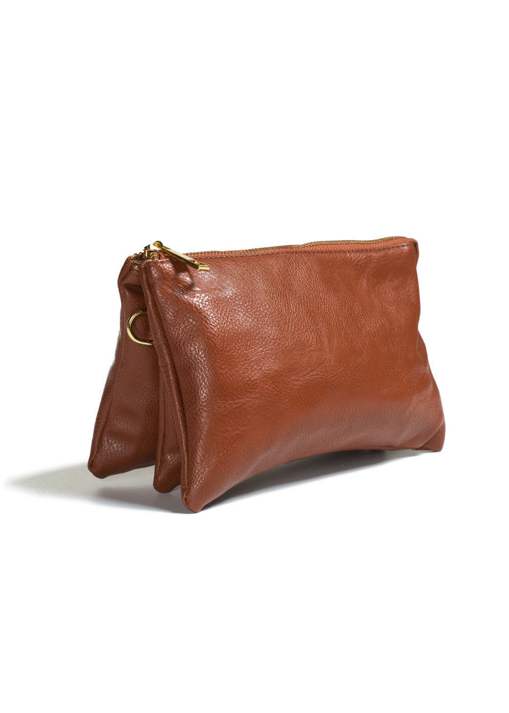 Clutch/Wallet Crossbody with Triple Pockets-Brown