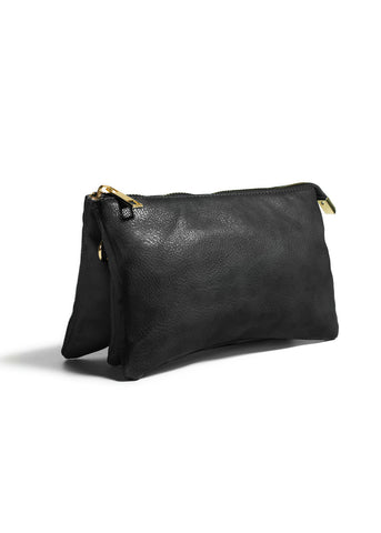 Clutch/Wallet Crossbody with Triple Pockets- Black