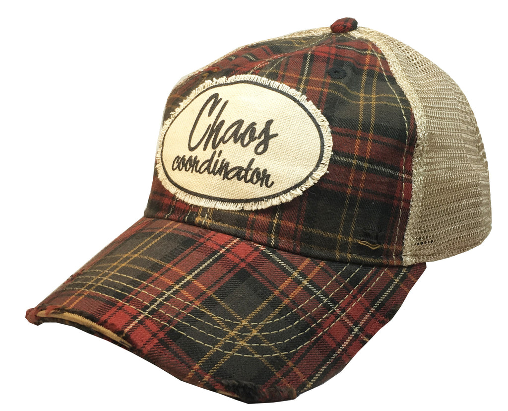 """Chaos Coordinator""  Women's Distressed Trucker Cap"