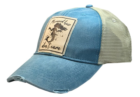 """Mermaid Hair Don't Care""  Women's Distressed Trucker Cap"