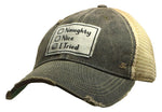 """Naughty, Nice, I Tried"" Distressed Trucker Cap"