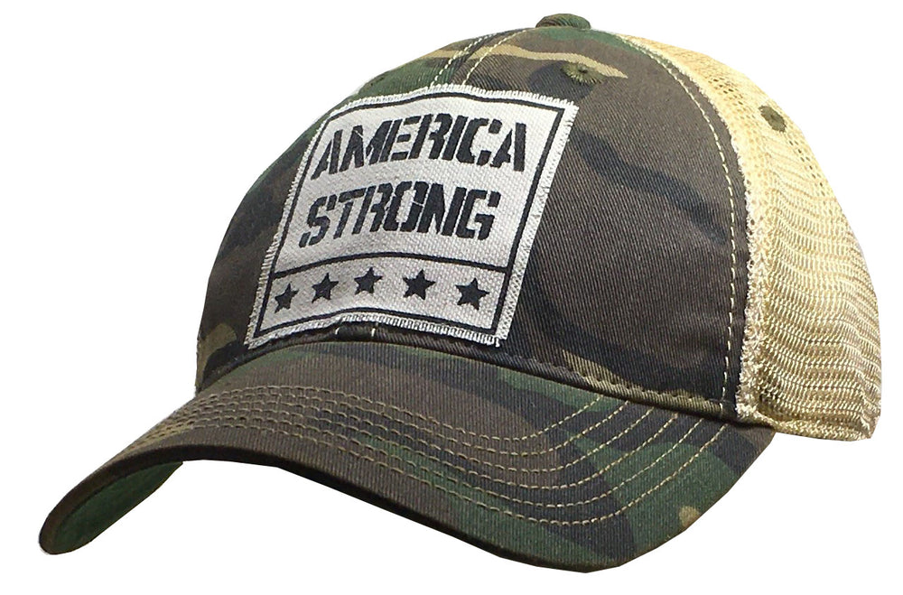 """American Strong"" Vintage Distressed Trucker Cap"