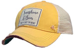 """Sunshine & Beer That's Why I'm Here"" Distressed Trucker Cap"