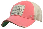 """It's Too Peopley Outside"" Distressed Trucker Cap"