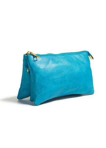 Clutch/Wallet Crossbody with Triple Pockets- Blue/Teal