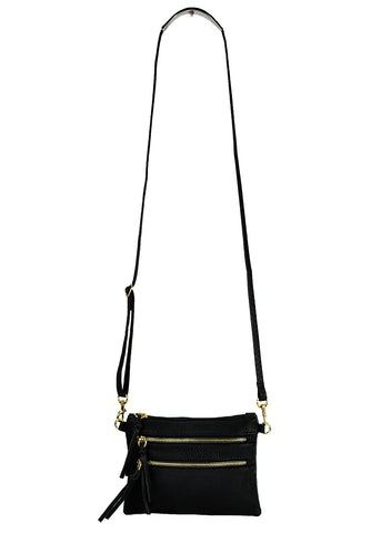 Crossbody Messenger Bag with Triple Zipper-Black