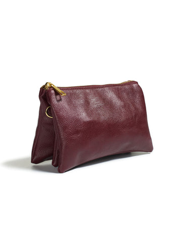 Clutch/Wallet Crossbody with Triple Pockets- Dark Red