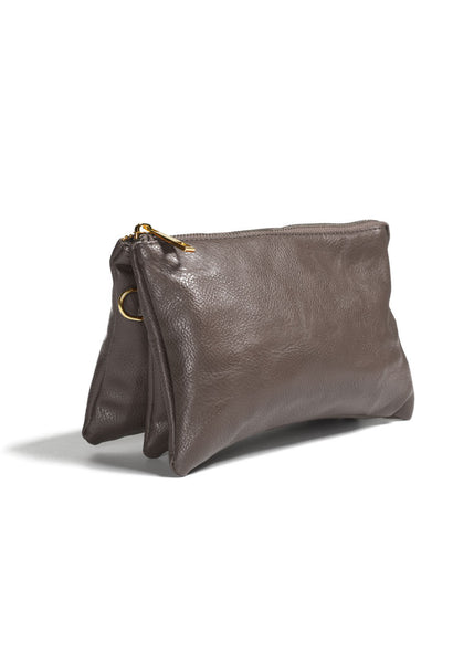Clutch/Wallet Crossbody with Triple Pockets- Khaki