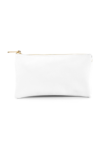 Clutch/Wallet Crossbody with Triple Pockets- White