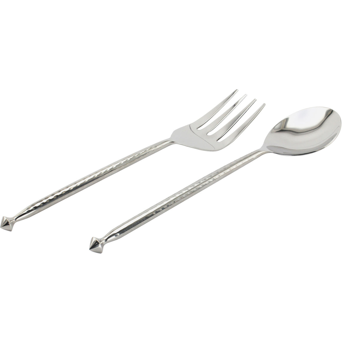 HAMMERED SALAD SERVER SET, Set, Fennel and Fork