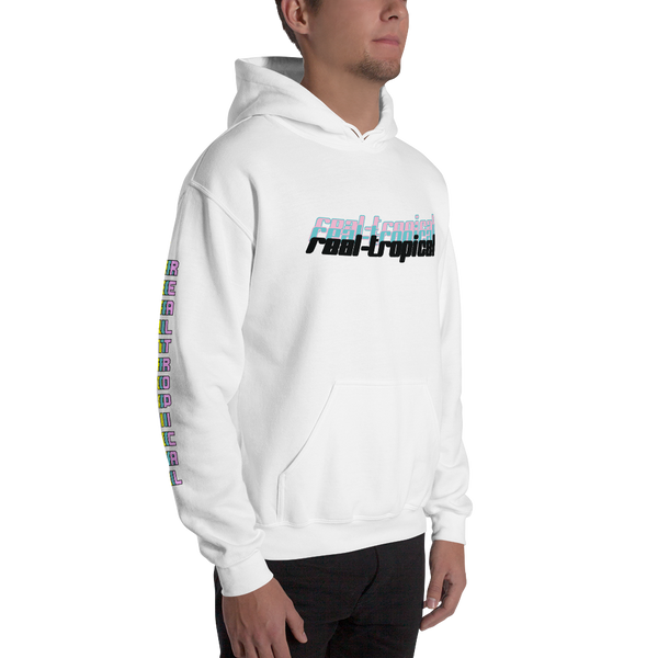 REAL-TROPICAL OVERLAPPED WHITE HOODIE