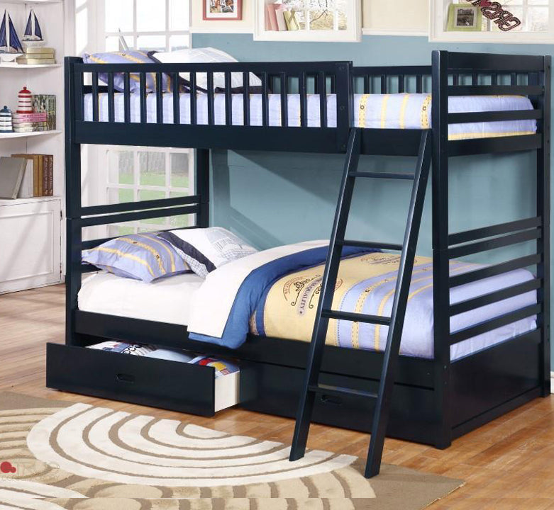 True Contemporary Fraser Navy Twin Over Twin Bunk Bed