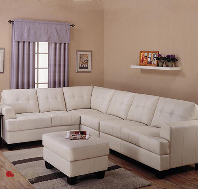 Toronto Cream Tufted Bonded Leather L Shaped Sectional Sofa