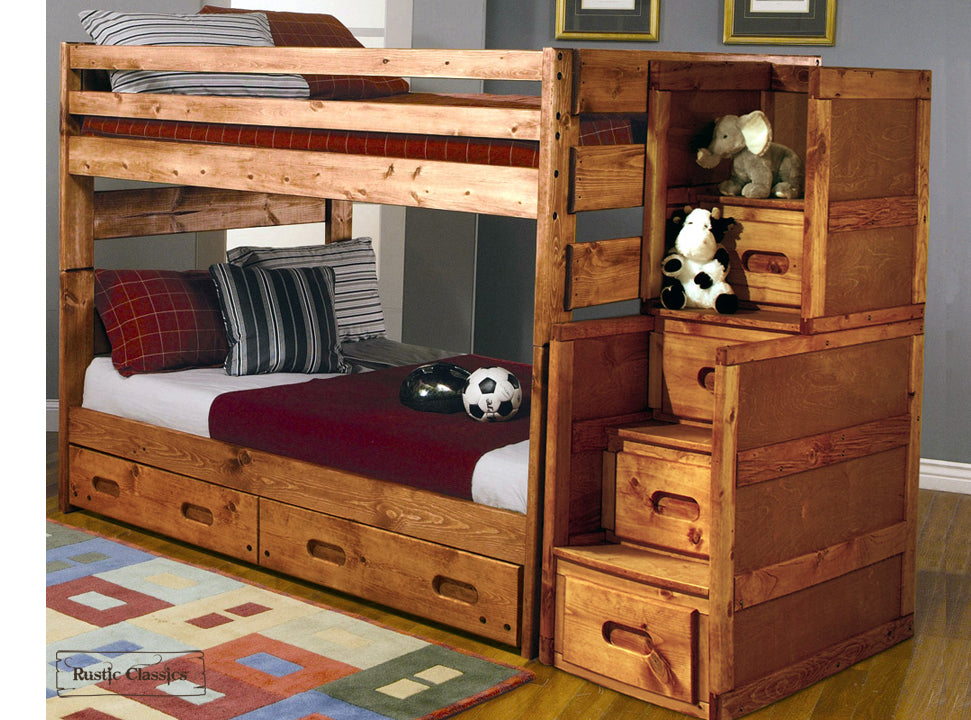 Rustic classics pine full over full bunk bed in amber wash for Furniture of america pello full over full slatted bunk bed