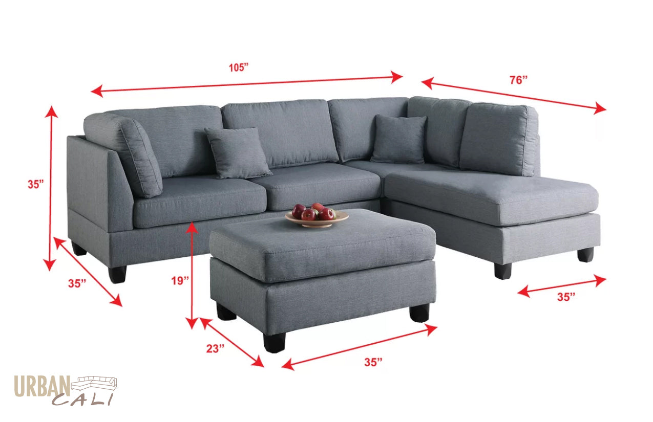 Urban Cali San Francisco Grey Linen Sectional With Reversible Chaise ~ Reversible Sectional Sofa Chaise