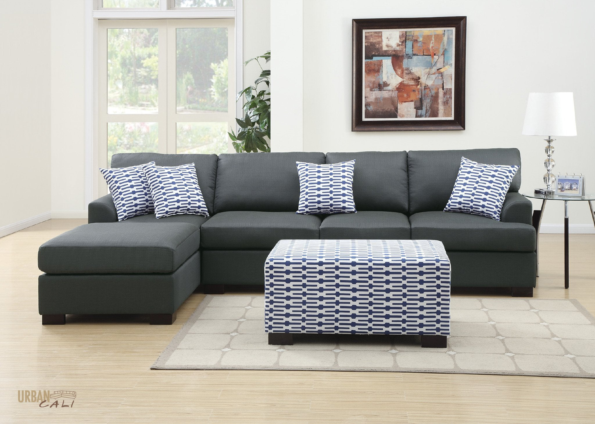 Hayward Sectional Sofa with Reversible Chaise in Slate Black