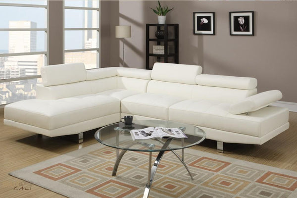 hollywood white faux leather adjustable sectional sofa with left facing chaise by urban cali