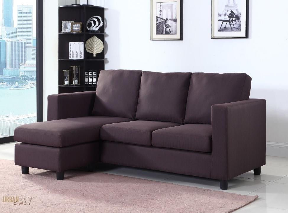 Newport Brown Linen Small Condo Apartment Sized Sectional Sofa With  Reversible Chaise