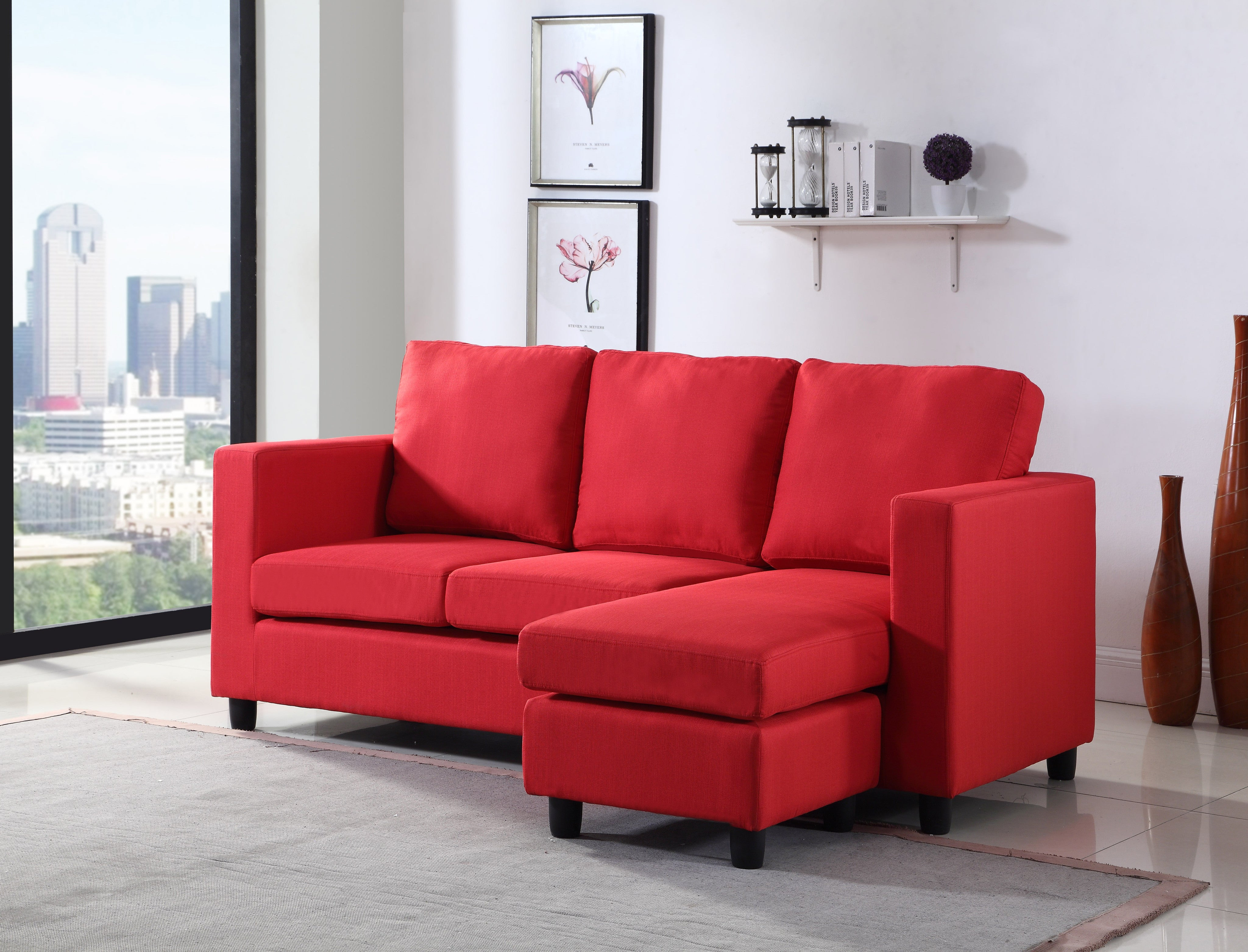 Newport Red Linen Small Condo Apartment Sized Sectional Sofa With  Reversible Chaise