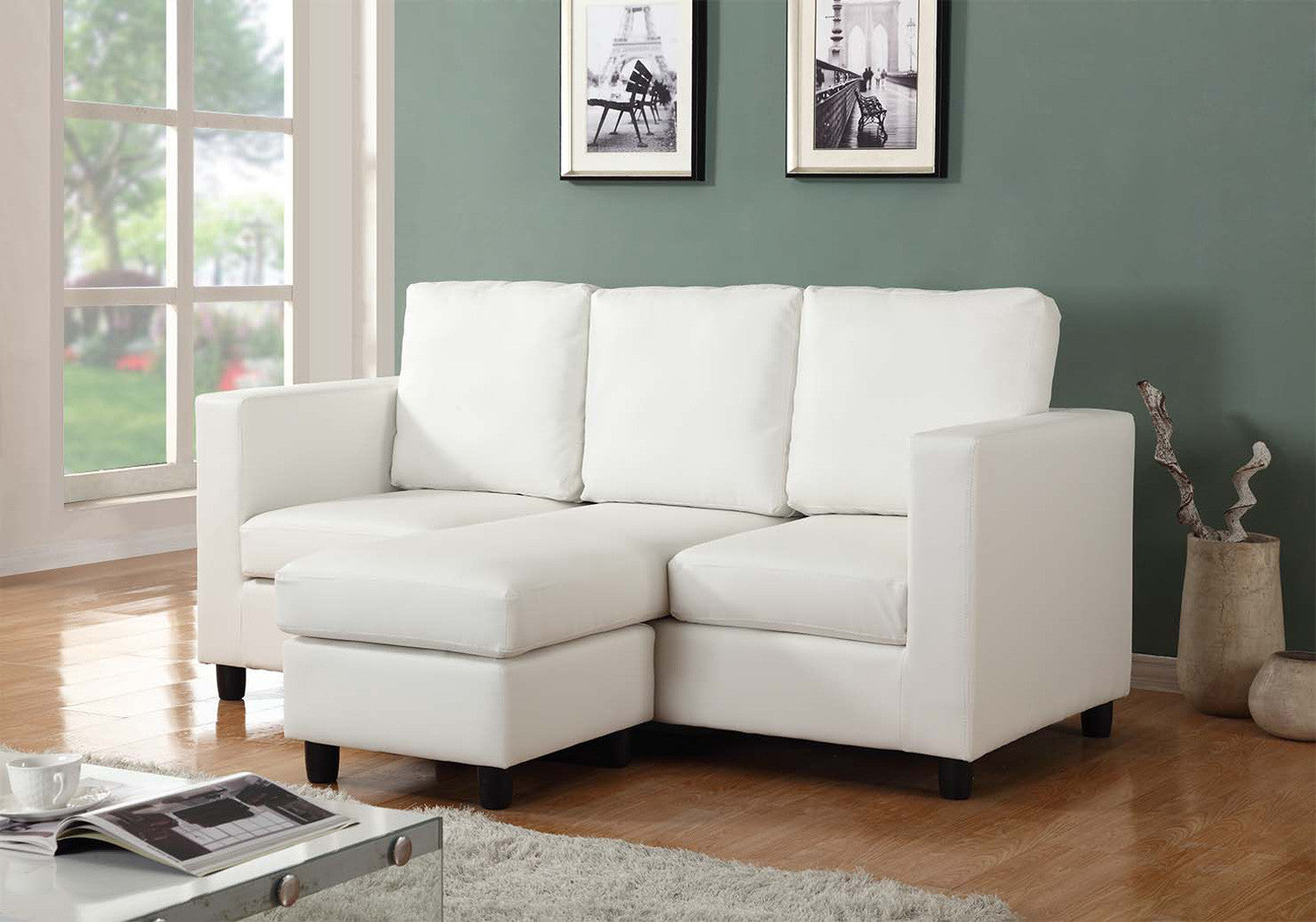 Urban Cali Newport Cream Eco Leather Small Condo Apartment Sectional