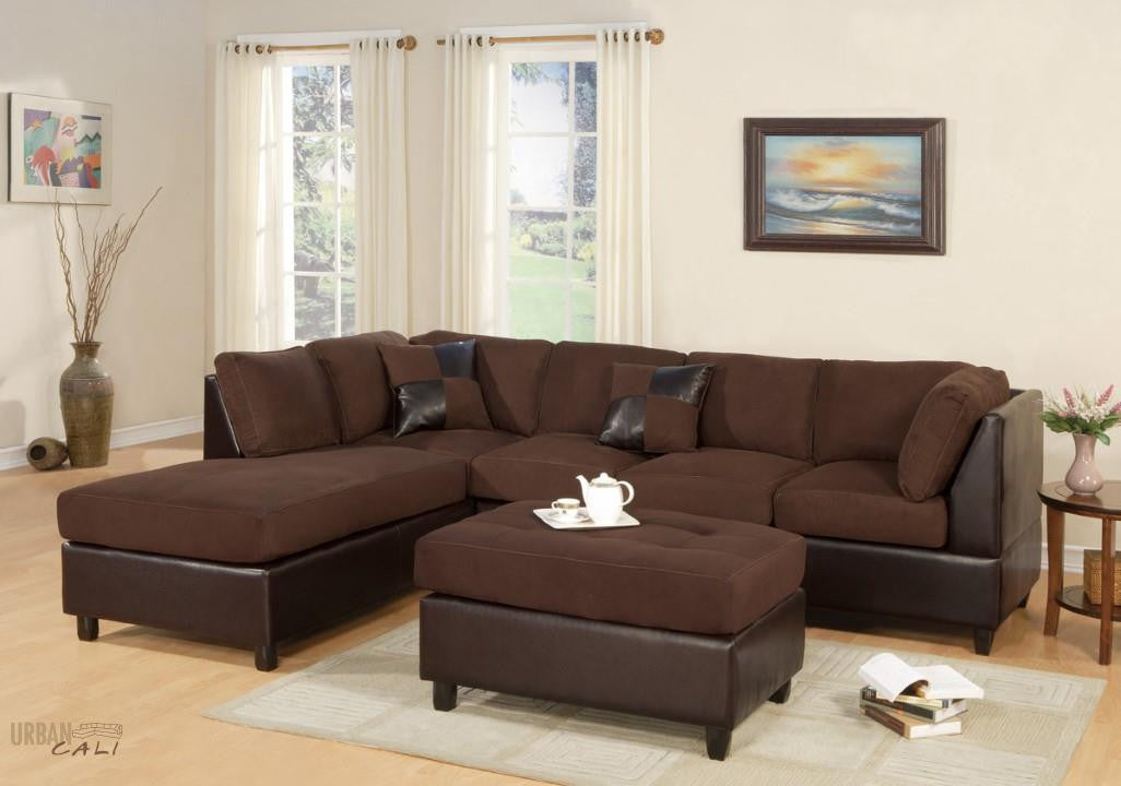 Sacramento Chocolate Sectional Sofa with Left Facing Chaise by Urban Cali : sacramento sectional sofa - Sectionals, Sofas & Couches