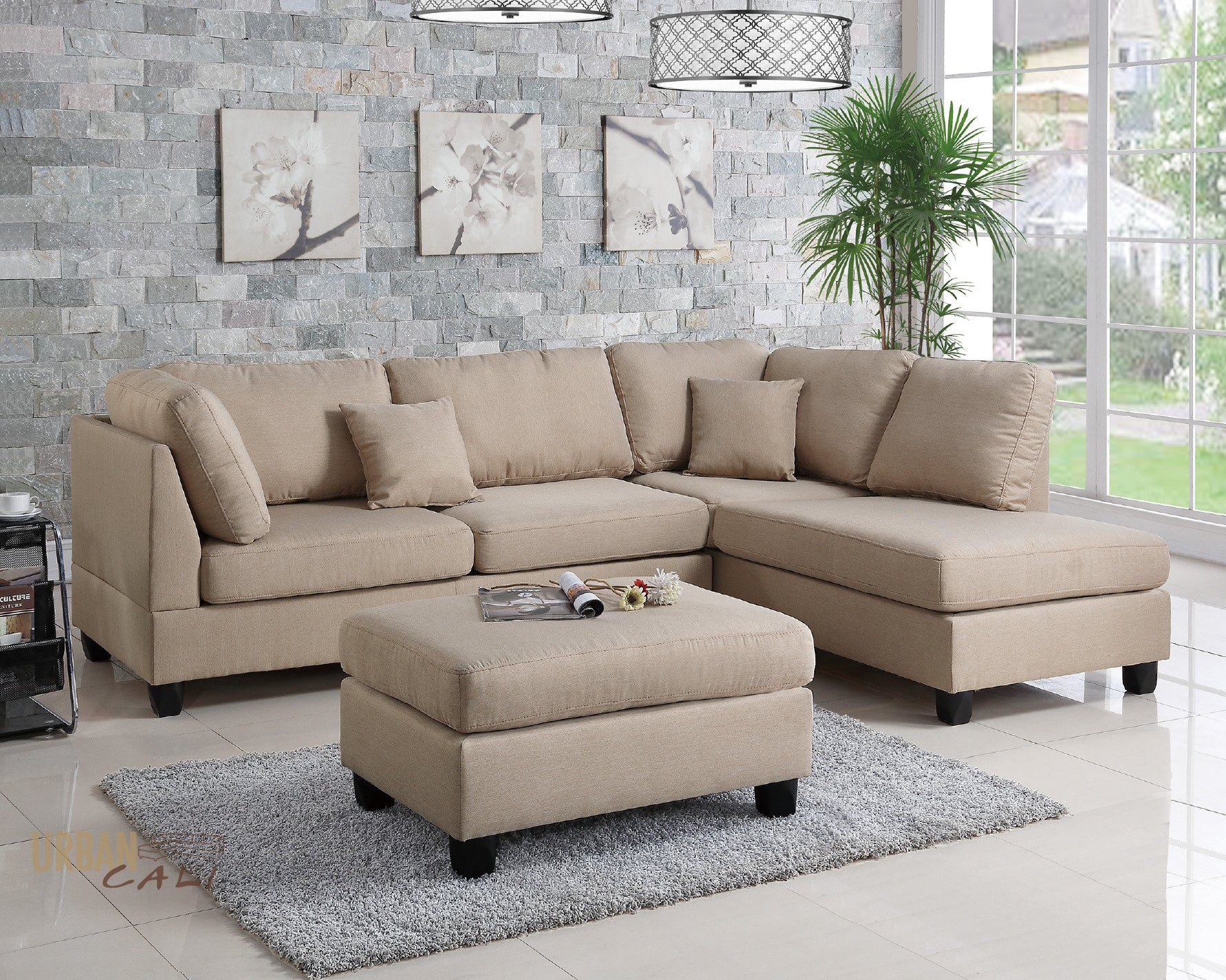 Merveilleux San Francisco Sand Linen Sectional Sofa With Reversible Chaise
