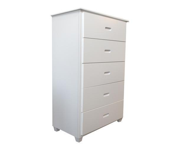 Fraser White Five Drawer Chest