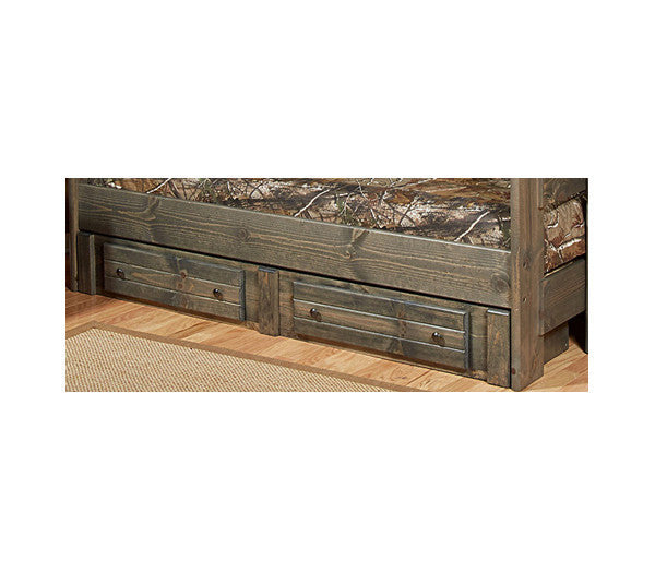 Pine Underbed Storage with 2 Drawers in Rustic Grey