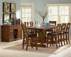 9 PC Zappa Counter Height Trestle Dining Room Set