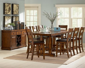Sale 9 PC Zappa Counter Height Trestle Dining Room Set
