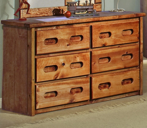 Pine 6 Drawer Dresser in Amber Wash