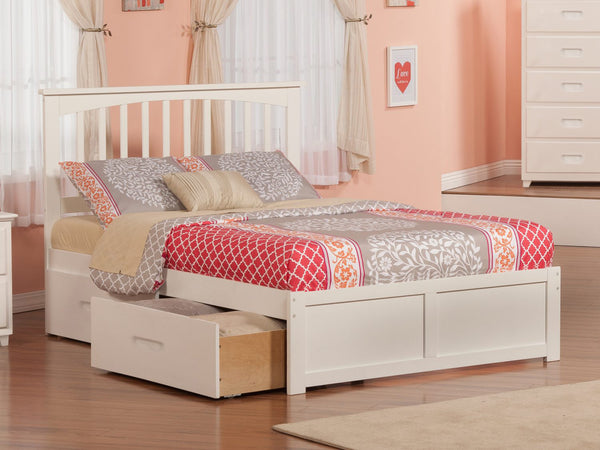 Fraser White Mission Platform Bed Frame with Storage Drawers