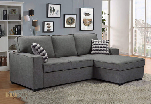 Bellissa Sleeper Sectional with Right Facing Chaise in Knit Charcoal