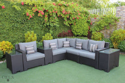 Provence Small L-Shaped Sectional with Three Glass Top Tables