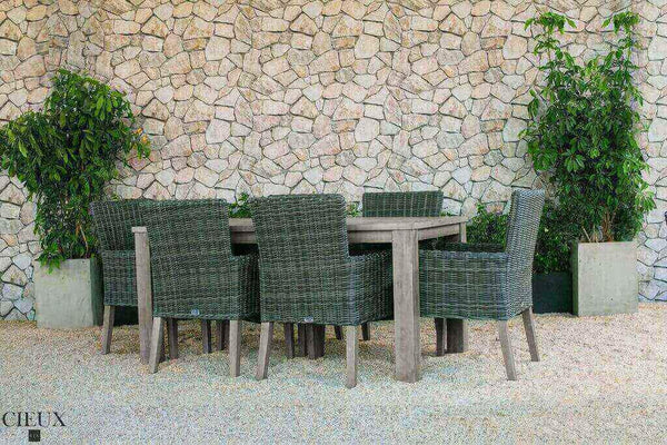 Champagne Weathered Teak Table with Six Grey Wicker Chairs