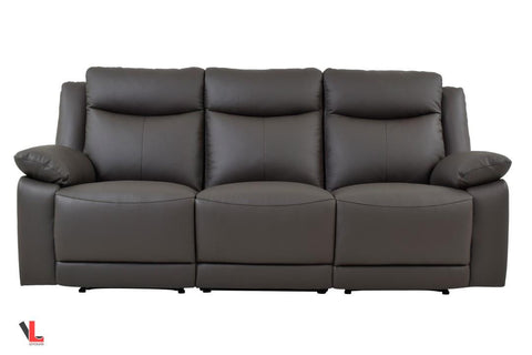 Volo Espresso Leather Reclining Sofa