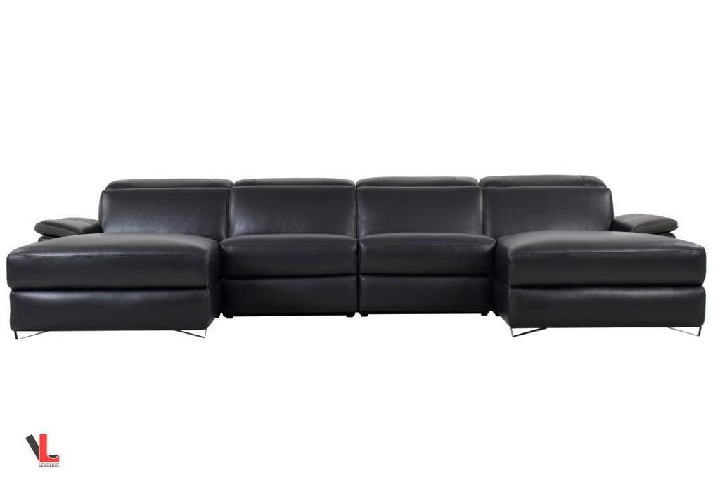 Aura Top Grain Black Leather Large U-Shaped Sectional  with Double Chaises