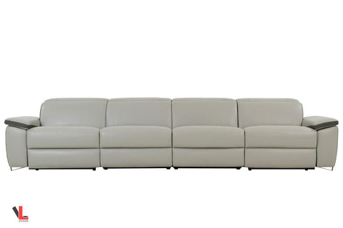 Aura Top Grain Light Grey Leather Power Reclining Large Sofa