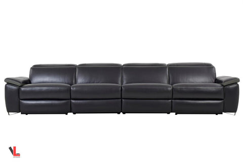 Aura Black Leather Power Reclining Extra Large Sofa